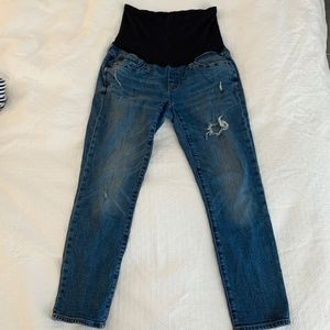 GAP Maternity Full Panel Distressed Jeans